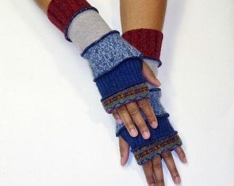 Fingerless Gloves, Arm Warmers, Patchwork Gloves, Handwarmers (Print/Navy/Heather Blue/Light Grey/Burgundy)