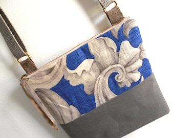 Linen crossbody bag - 1920s antique linen, indigo taupe  - eco vintage fabrics