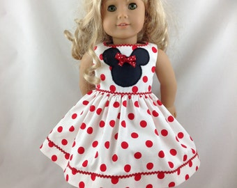 American Girl Doll Dress vacation Mickey Mouse Minnie Mouse Polka Dot Disneyland Disney World 18 in with Mouse Ears FREE Hanger