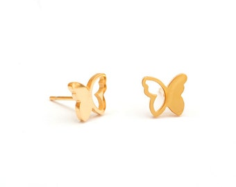 Butterfly Golden Stainless Steel Earring Post Finding  (EX026)