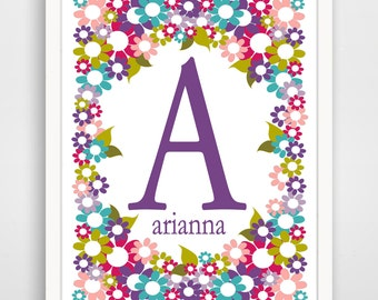 Personalized Name Print - Floral Garden Name Print - Purple Nursery Art - Purple Girl's Room - Wall Art