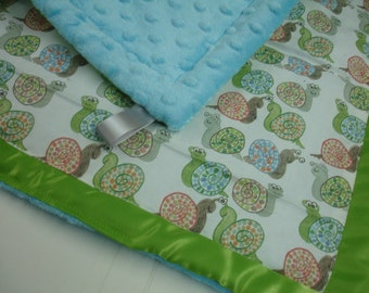 Buggy Eyed Snails Satin Trimmed Minky Lovey 14 X 15 READY TO SHIP On Sale