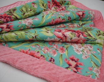Bliss Bouquet Minky Blanket  You Choose Size and Minky Color MADE TO ORDER No Batting