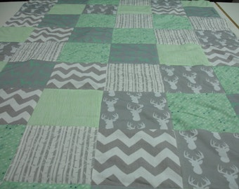 Minty Fresh Deer Forest Mint and Gray Minky Blanket You Choose Size and Minky Color MADE TO ORDER No Batting