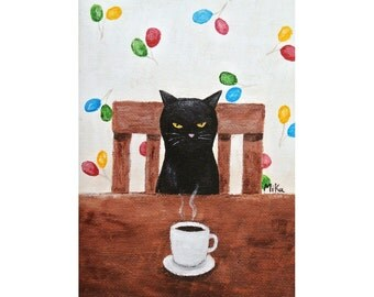 Black Cat Illustration Print Funny Black Cat Print Coffee Art Quirky Home Wall Decor Kitchen Art illustration Grumpy Black Cat Humor MiKa
