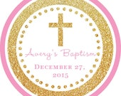 Baptism Cross Gold Glitter Pink round sticker label / cupcake topper / thank you tags for birthday party, baby shower, PERSONALIZED
