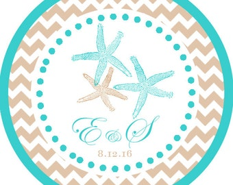 Starfish Tropical Beach Wedding Party Thank You PERSONALIZED Stickers, Tags, Labels, or Cupcake Toppers, various sizes, printed & shipped