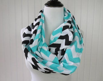 Carolina Panthers Scarf - Blue Chevron & Black Chevron Infinity Scarf - Florida Marlins Scarf - Detroit Lions - Team Scarf