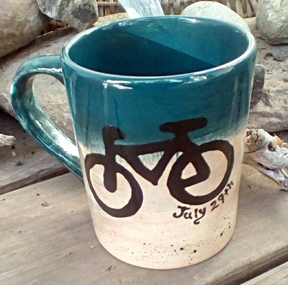 Custom bike mug pottery coffee mug tea bistro biker biking mug made to order ceramic pottery mug personalized mountain bike rustic mug