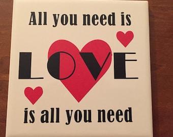 """All You Need is Love Beatles lyrics 6"""" ceramic tile"""