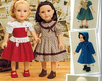 SImplicity 1245 / 0440 American Girl 18 Inch Doll Dress Sewing Pattern Lots of Options 1940s Dresses Coats Cloche Hat