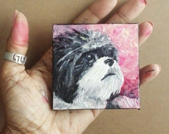 "Mini Oil Painting Dog Shih Tzu Pet Portrait 3""x 3"" READY to SHIP"