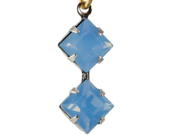Blue Opal Faceted Square Glass Stones Double 1 Loop Silver Plated Setting 6mm (4) squ013NN3