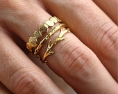 40% Off Sale Gold Pebble Raw Twig Ring Set|  Stacking Rings Set| Vermeil Rings