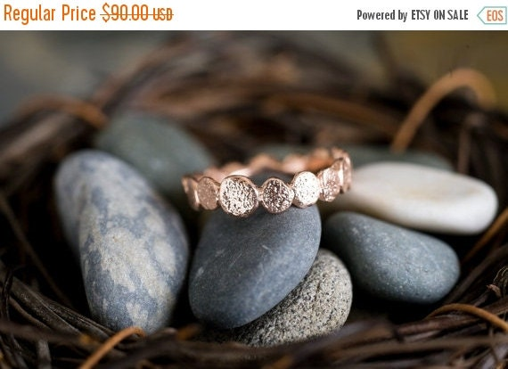Valentines Day Sale Single Rose Gold Vermeil Pebble ring | Stacking Ring | Rose GoldVermeil Ring