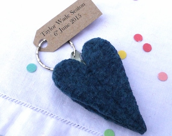 Blue Love Heart Key ring, wool felt made in Scotland, perfect for wedding favours
