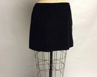 Black Cotton Corduroy mini Skirt