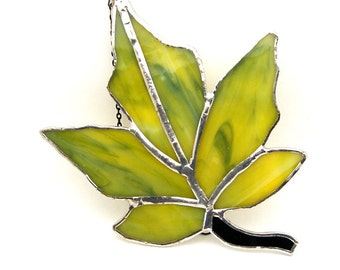 Handcrafted Stained Glass Maple Leaf Suncatcher Sun Catcher