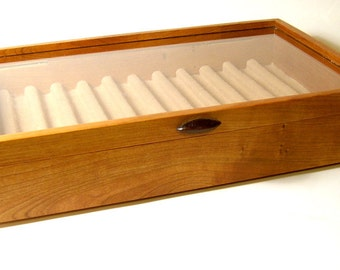 Handmade Fountain Pen and Rollerball Pen Display Case Cherry Wood