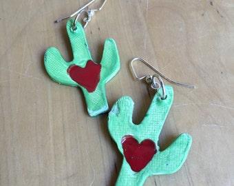 Ceramic Saguaro Cactus Earrings
