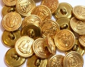 Gold Buttons, Vintage Goldtone Metal Buttons 3/4 inch(19 mm) diameter x 25 pieces, Shank Back, Coat of Arms
