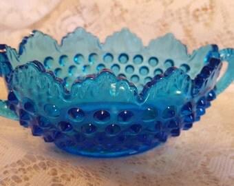 Vintage Fenton Glass Blue Hobnail Dish