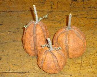Primitive Handmade Paper Mache Pumpkins Set Of 3