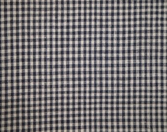 Homespun Fabric Navy And White Medium Check 1 Yard  Destash