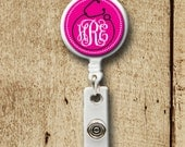 Monogrammed ID Badge reel, personalized, badge clip, Stethoscope, nurse, doctor, hospital ID holder, monogrammed gifts