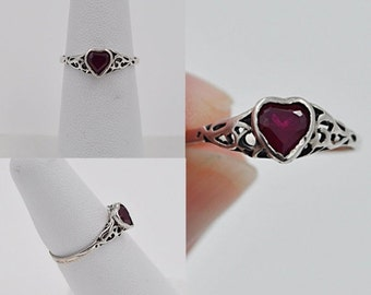 ON SALE Vintage 925 Silver Filigree & Ruby Heart Ring, Openwork, Size 5 1/4, Pinkie Ring, Sweetheart Ring, Be My Valentine! #b256
