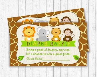 Safari Jungle Diaper Raffle Tickets / Safari Baby Shower / Jungle Baby  Shower Shower / Jungle
