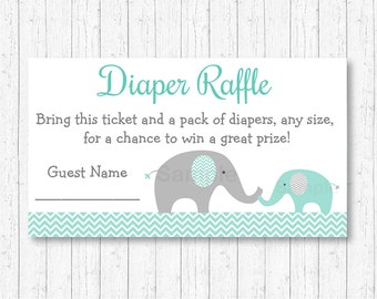 Elephant Diaper Raffle Tickets / Elephant Baby Shower / Mint Green & Grey / Gender Neutral / Printable INSTANT DOWNLOAD A101