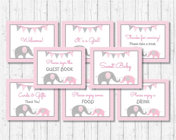 Pink Elephant Baby Shower Signs Elephant Baby Shower Chevron