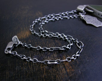 Long and short link chain made to order sterling silver 3mm soldered jump rings and lobster claw clasp antique rustic finish