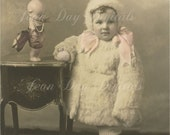 ON SALE Young Helen and Cupie Doll, Christmas Instant Download, Photo Scan 1920's, DP035