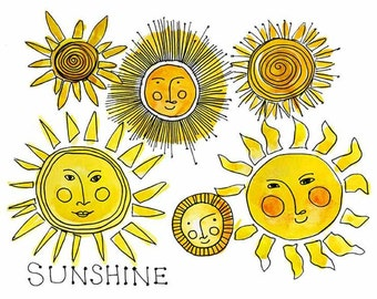 Instant Download, Printable, Always Sunny, Kids Artwork, Nursery Decor, Wall Art Prints, Sunshine Watercolor Sketch, Cute Office Decor