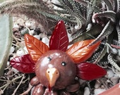 Awesome Little Turkey Octopus Mini Marble Friend Brown and Gold Swirl Orange and Red Feathers