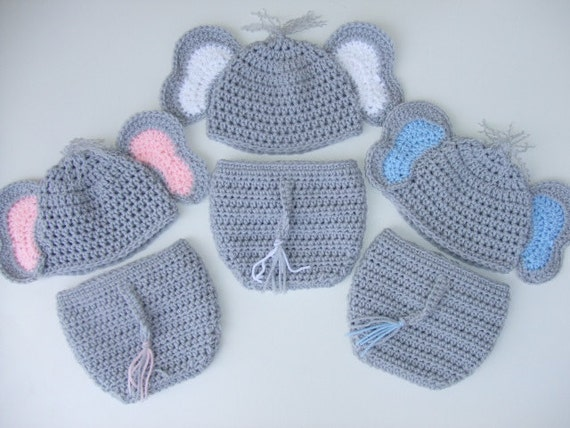 Crochet Pattern For Baby Elephant Hat : Crochet Baby Elephant Hat & Diaper Cover You Pick Size and