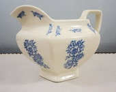 Antique Blue & White Milk Pitcher - Early 1900's - Wide Opening