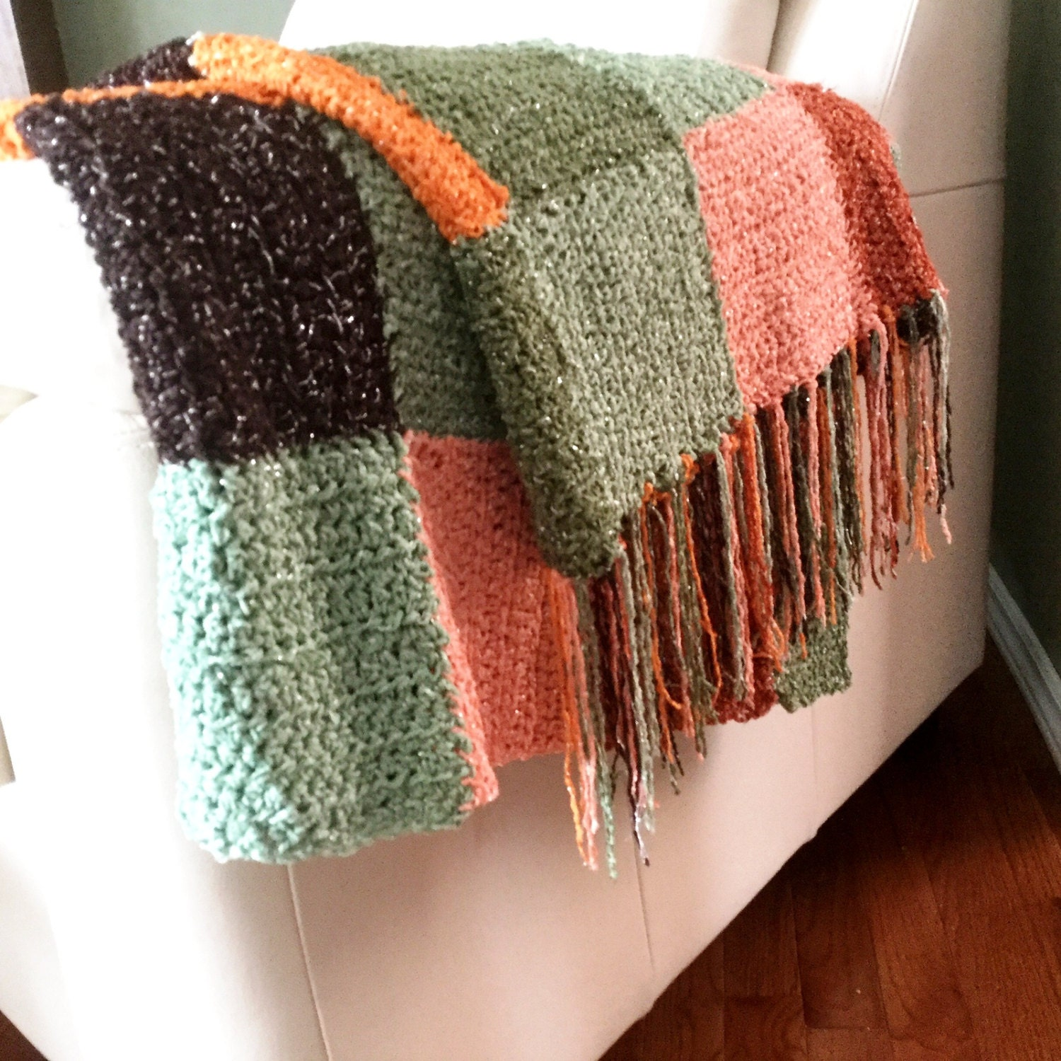 Throw Blanket With Fringe Crocheted Multicolored Afghan With