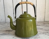 Vintage Teapot - Enamelware Graniteware Green Kettle - Olive and Black