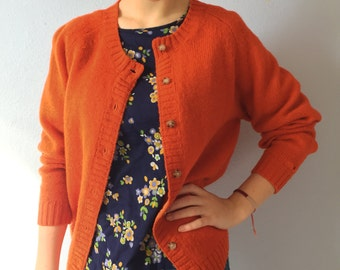 Vintage Cardigan Sweater - Wool Brooks Brothers Orange Women's