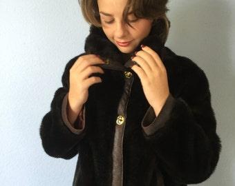 Vintage Faux Fur Coat - Country Pacer Pant Length - Dark Brown - Size Medium c. 1970s