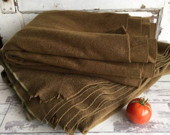 Vintage Wool Army Blanket - Choice of Two - Single 1940s Drab Olive