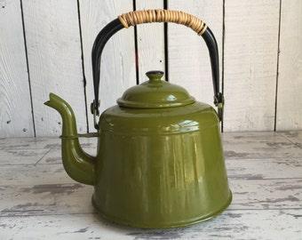 Vintage Teapot - Enamelware Graniteware Green Kettle - Olive and Black