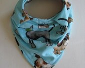 Bandana Bib, Drool Bib, Dogs, Polka Dots, Blue, Gray, Brown, Baby Bib, Micro Fleece, Cotton
