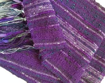 handwoven scarf summer lavender lightweight