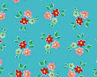 20% OFF Backyard Roses Bouquet Blue - 1/2 Yard