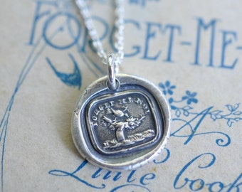 bird with empty nest wax seal necklace pendant - FORGET ME NOT - keepsake necklace - silver antique wax seal jewelry