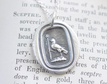 raven wax seal necklace - royal raven holding a sceptre wax seal pendant ... knowledge, vigilance - silver antique wax seal jewelry
